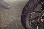 Punctured Motorcycle Wheel, A Nail Sticks Out Of The Tire, Tire Fitting poster