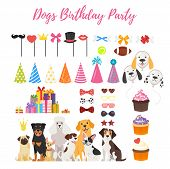 Vector  Cartoon Style Set Of Dog Party And Birthday Elements For Your Design - Dogs, Cone Holiday Ha poster