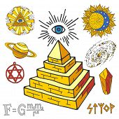 Vector Mystic Magic Esoteric Symbols Piramide Sketch Hand Drawn Religion Philosophy Spirituality Mag poster
