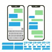 Chatbot Text Message Vector. Chat Bot Bubble Set Template. Modern Mobile Application Messenger Inter poster