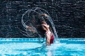 Young Asian Woman Relaxing In Swimming Pool At Spa Resort.relaxing,spa Relax,bikini Concept. poster