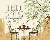 Vector Landscape In Retro Style On The Spring Theme With The Words Hello Spring, Furnished Outdoor C poster