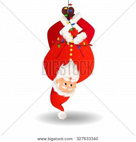 poster of Santa Claus. Christmas Card. Funny Cartoon Santa Claus With A Huge Red Bag With Gifts. Santa Claus F