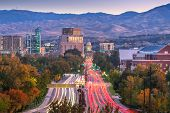 Boise, Idaho, USA downtown cityscape at twilight. poster