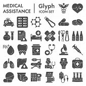 Medical Assistance Glyph Icon Set, Healthcare Symbols Collection, Vector Sketches, Logo Illustration poster