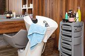 Hairdressers Workplace. Modern Beauty Salon. Hair Salon Interior Business. poster