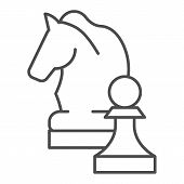 Chess Knight Thin Line Icon. Chess Horse Vector Illustration Isolated On White. Equine Outline Style poster