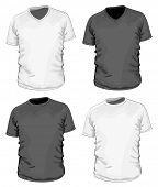 Vector. Men's black &white t-shirt (& v-neck t-shirt)