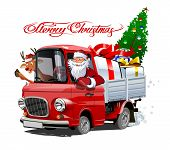 Vector Christmas Card With Cartoon Retro Christmas Delivery Truck, Santa, Reindeer And Christmas Let poster