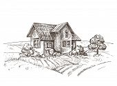A Vector Image Of A Village House. The Village Landscape. poster