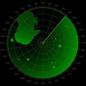 ilustração detalhada de uma tela de radar com metas e landmass
