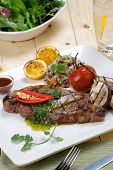 Grilled Steak With Spicy Herb Sauce poster