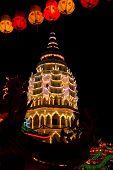 Well lit buddhist temple