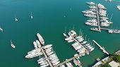 Berth With Yachts, Marina For Mooring Boats. Yachting And Water Transport, Aerial Photography poster