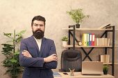 Every Boss Started As Worker. Man Bearded Hipster Boss Looking At You With Attention. Boss Standing  poster