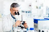 senior male researcher carrying out scientific research in a lab using a microscope (shallow DOF; co