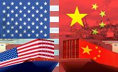 Concept Image Of Usa-china Trade War, Economy Conflict, Us Tariffs On Exports To China, Trade Fricti poster
