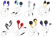 Headphones For Listening To Music, Headphone Vector Set, In-ear Headphones, Multi-colored Headphones poster