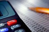 Calculator Over Financial Budget Spreadsheet