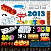 2013 Year Labels, Icons, Tags and Stamps - set of various vector design elements