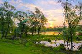 Sunrise Over The Narew River, Poland.