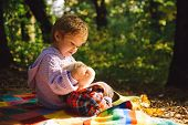 Picnic With Teddy Bear. Hiking With Favorite Toy. Better Together. Happy Childhood. Inseparable With poster
