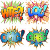 A Selection of Comic Book Abbreviations and Acronyms, WTF, LOL, OMG, GR8 WTF, Laugh Out Loud, Oh My