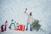 Hipster Woodsman With Christmas Tree. Man Is Going To Cut A Christmas Tree. Christmas Tree Cut. Bear poster