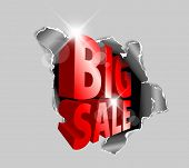Vector Big sale discount advertisement - Hole with sale text