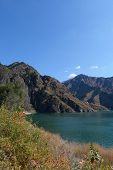 Nature Landscape View Heaven Lake Of Celestial Mountains In Xinjiang China. poster