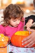 Girl pouring pumpkin