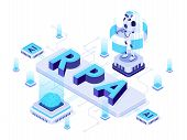 Isometric Rpa. Robotic Process Automation, Futuristic Artificial Intelligence Robots And Ai Learning poster