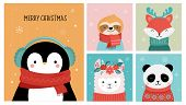 Collection Of Christmas Cute Animals, Merry Christmas Illustrations Of Panda, Fox, Llama, Sloth, Cat poster