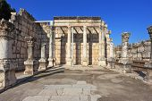 The oldest church in the Lake of Galilee. Colonnade at the Roman style courtyard
