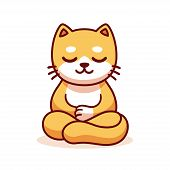 Cat Sitting In Meditation, Cartoon Drawing. Cute Funny Ginger Kitty Meditating In Lotus Position, Ve poster