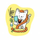 Virgo Astrological Zodiac Sign With Cute Cat Character. Cat Zodiac Icon. Kitten Virgo Sticker. Baby  poster