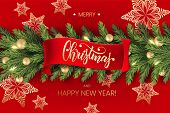 Holidays Background For Merry Christmas Greeting Red Card With A Realistic Green Garland Of Pine Tre poster