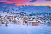 Beautiful Winter Sport And Travel Destination. Well Known Winter Ski Resort And Stunning Ski Slopes  poster