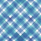 Watercolor Diagonal Stripe Plaid Seamless Texture. Blue And Teal Stripes On White Background. Waterc poster