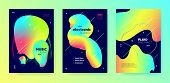 Neon Music Banner. Gradient Pattern. Electronic Techno Concert. Multicolor Abstract Movement. Trendy poster