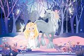 Fantasy Cute Cartoon Of Cute Princess With Little Fairies Flying And Playing With White Unicorn In M poster