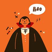 Greeting Card With Black Vampire.halloween Party Invitations With Handwritten Calligraphy And Tradit poster