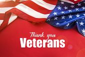 American Flag On A Red Background. Veterans Day. Honoring All Who Served poster