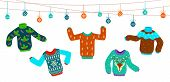Ugly Christmas Sweater. Dancing Knitting Sweaters, Xmas Jumpers Vector Winter Holiday Party Fashion  poster