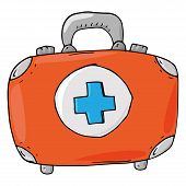 Medical Suitcase Icon. Vector Illustration Of A Suitcase With Medical Equipment. Hand Drawn Medical  poster