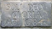 stock photo of deo  - Stone sign with Soli Deo Gloria Latin for  - JPG