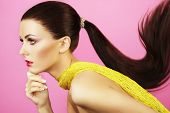 image of ponytail  - Fashion photo of beautiful woman with ponytail - JPG