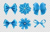 Blue Satin Bows. Silk Ribbon Bows Vector With Pearls Isolated On Transparent Background. Satin Bow A poster