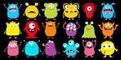 Monster Colorful Silhouette Super Big Icon Set. Happy Halloween. Eyes, Tongue, Tooth Fang, Hands Up. poster