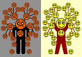 Different Patterns Of Thinking. Concept Sign Of Two People With A Positive And Negative Mindset. poster